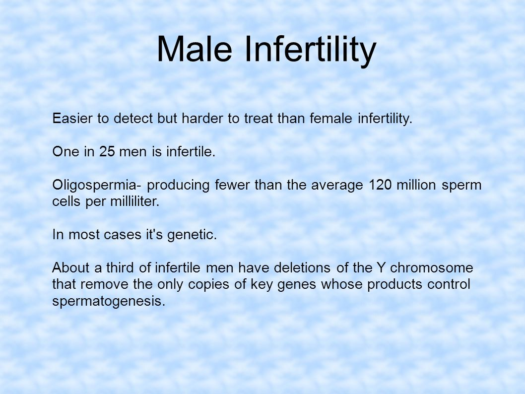 Male Infertility Easier to detect but harder to treat than female infertility. One in 25 men is infertile.
