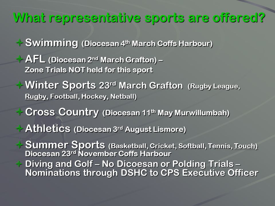 What representative sports are offered