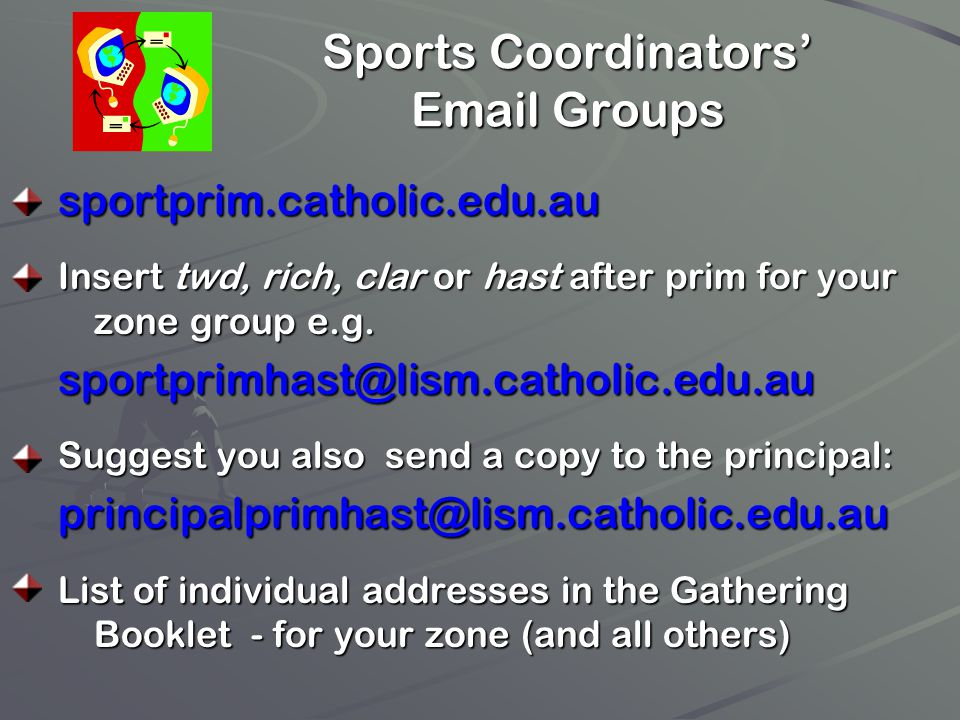 Sports Coordinators' Email Groups