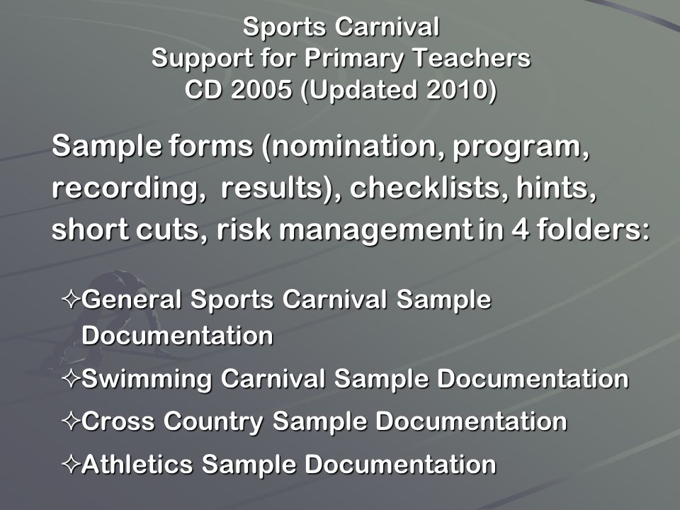 Sports Carnival Support for Primary Teachers CD 2005 (Updated 2010)