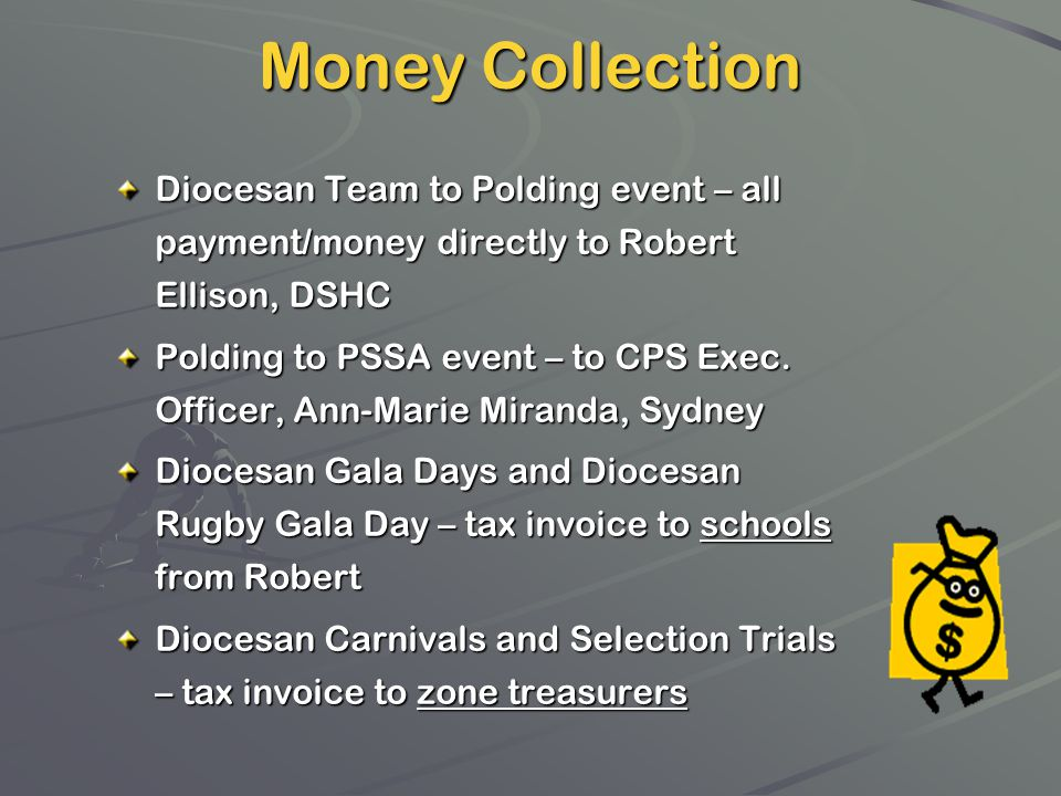 Money Collection Diocesan Team to Polding event – all payment/money directly to Robert Ellison, DSHC.