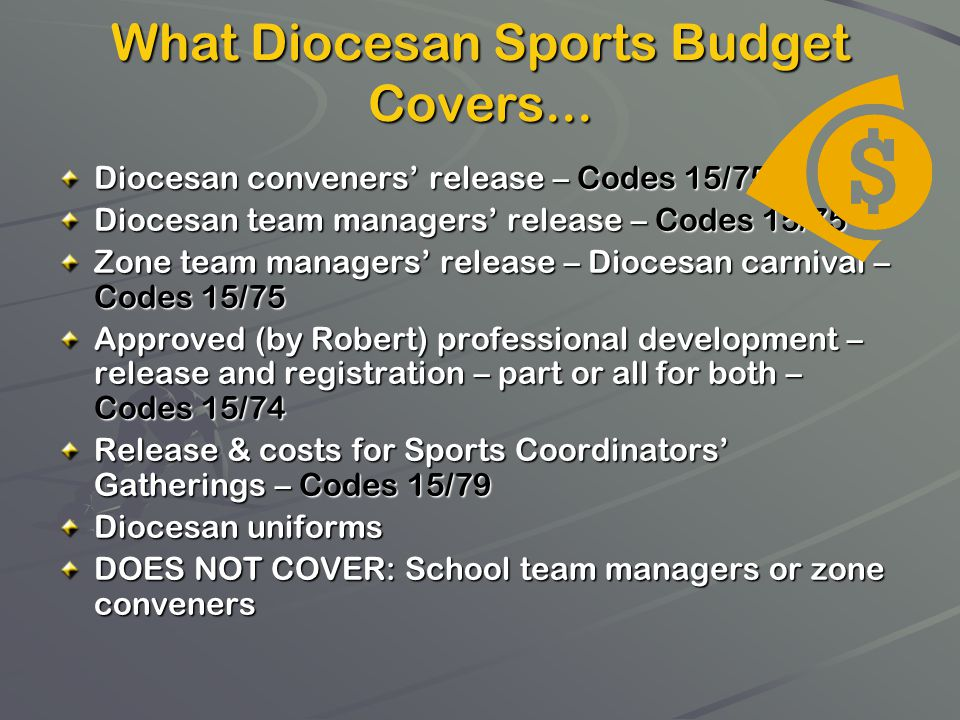 What Diocesan Sports Budget Covers...