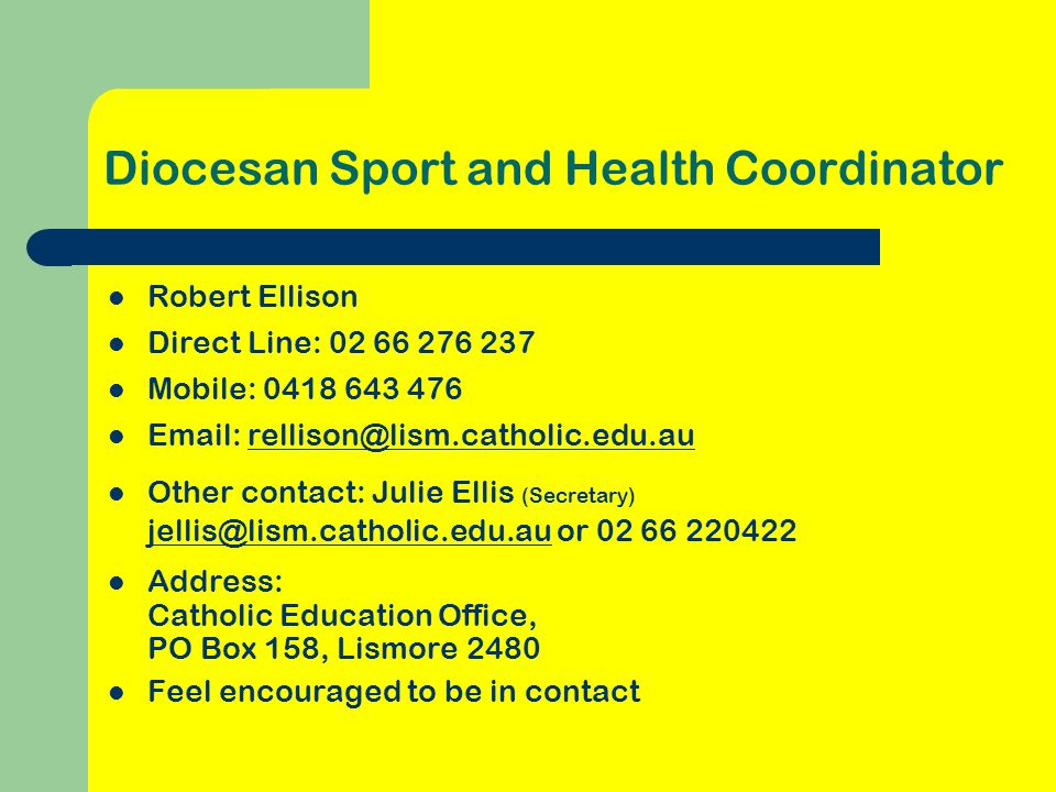 Diocesan Sport and Health Coordinator