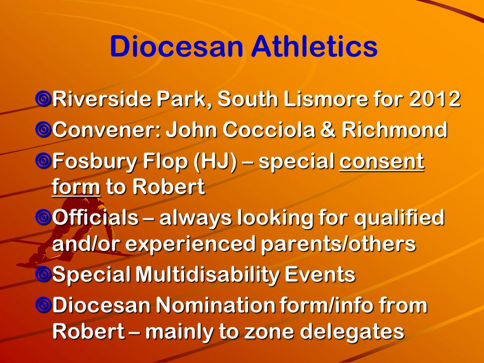 Diocesan Athletics Riverside Park, South Lismore for 2012