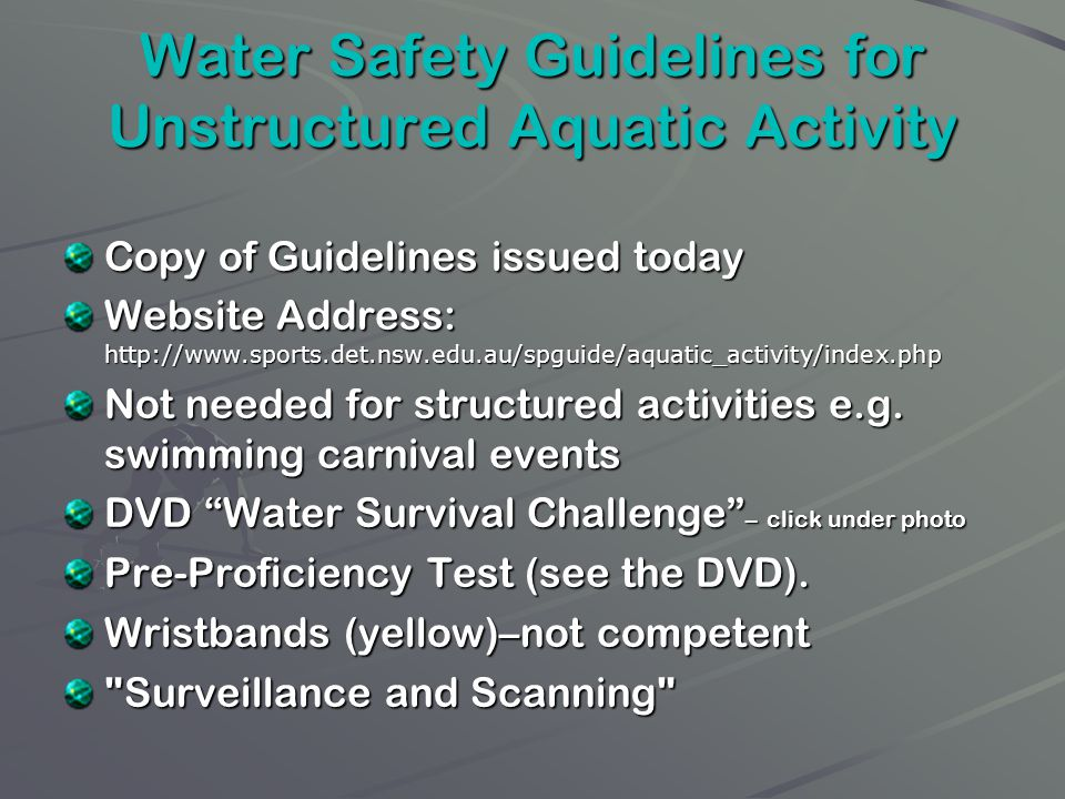 Water Safety Guidelines for Unstructured Aquatic Activity