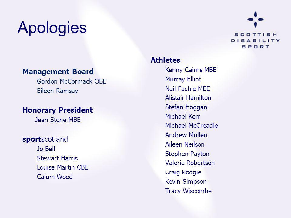 Apologies Athletes Management Board Honorary President sportscotland
