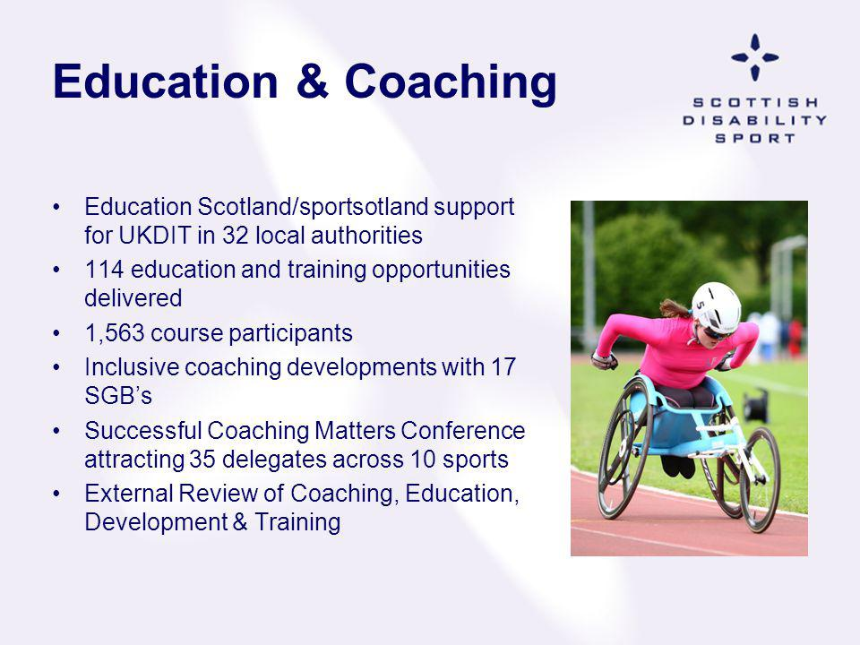 Education & Coaching Education Scotland/sportsotland support for UKDIT in 32 local authorities. 114 education and training opportunities delivered.