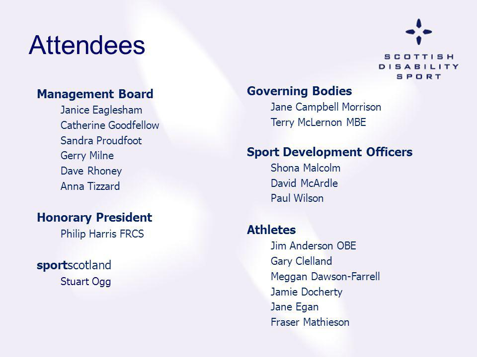 Attendees Governing Bodies Management Board Sport Development Officers
