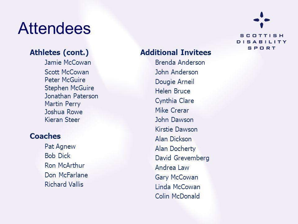 Attendees Athletes (cont.) Coaches Additional Invitees Jamie McCowan
