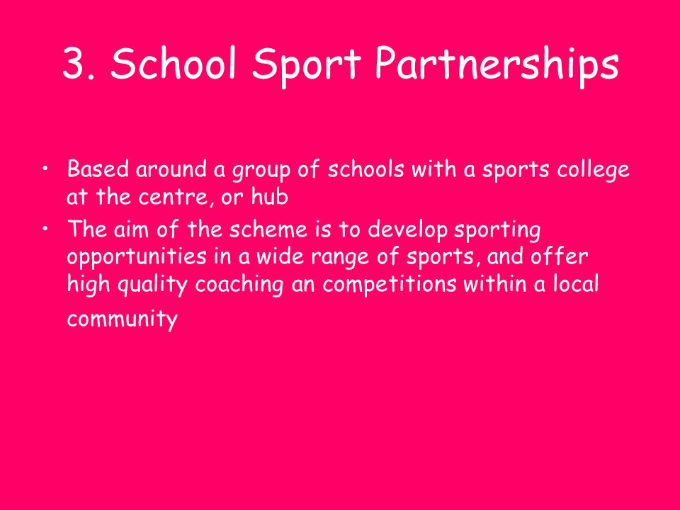 3. School Sport Partnerships