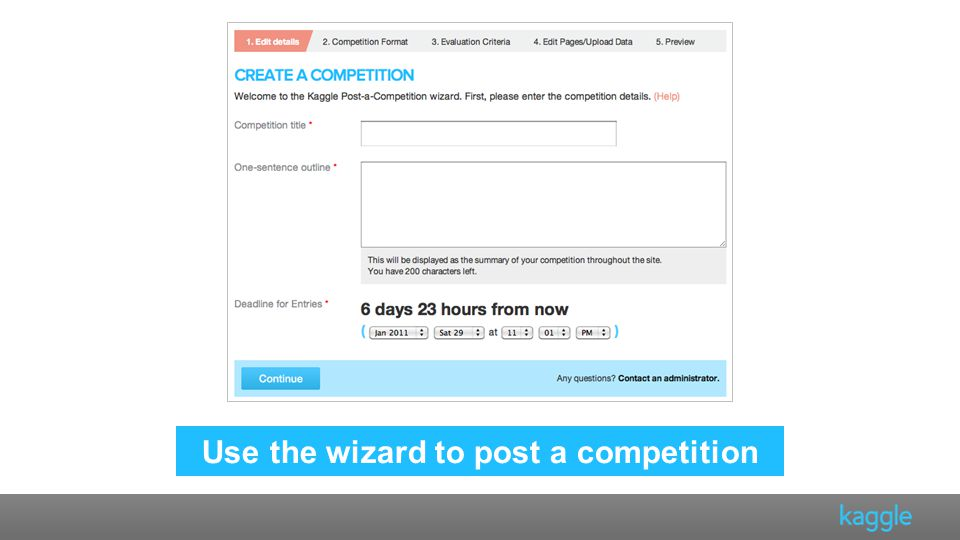 Use the wizard to post a competition