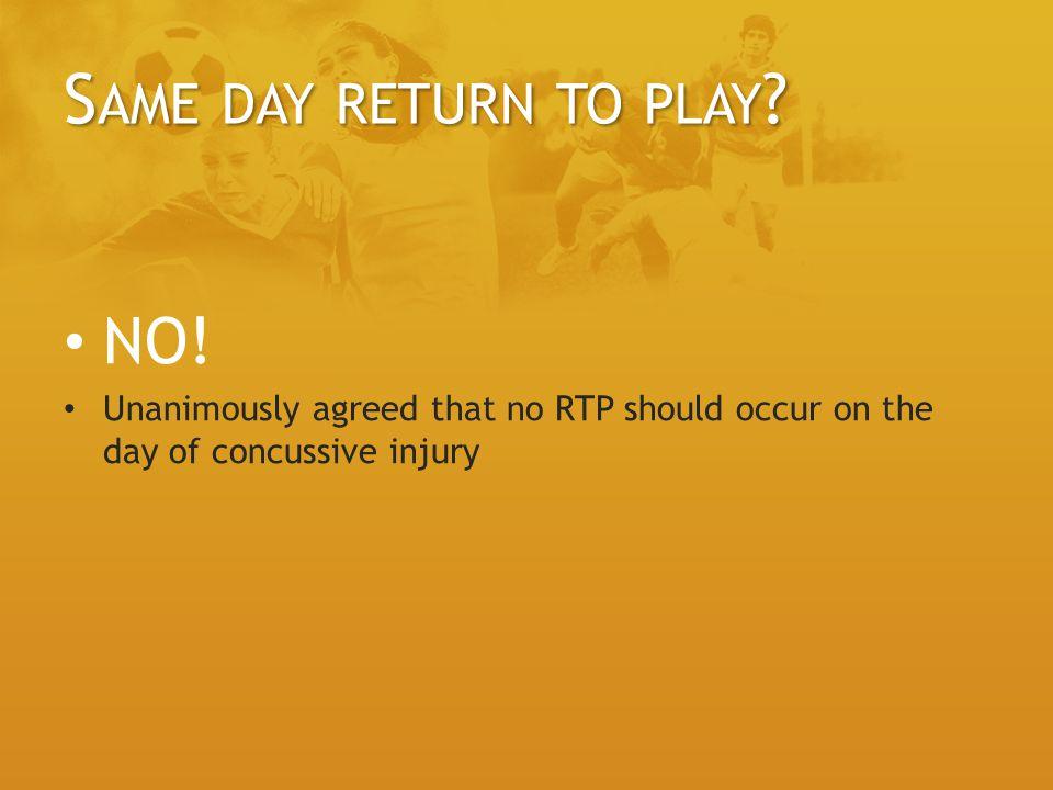 Same day return to play NO!
