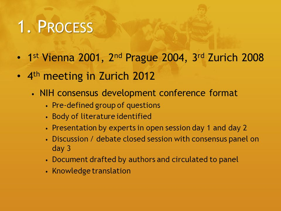 1. Process 1st Vienna 2001, 2nd Prague 2004, 3rd Zurich 2008