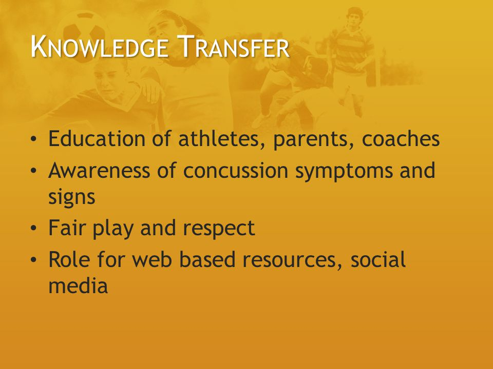 Knowledge Transfer Education of athletes, parents, coaches