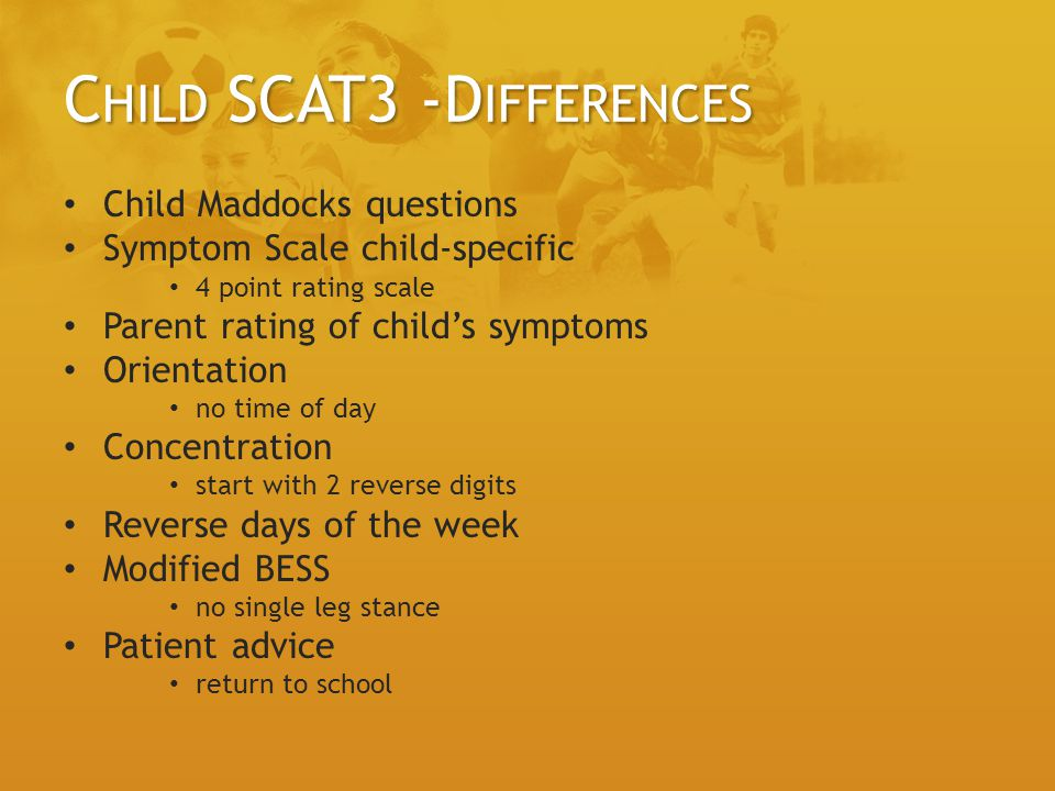 Child SCAT3 -Differences