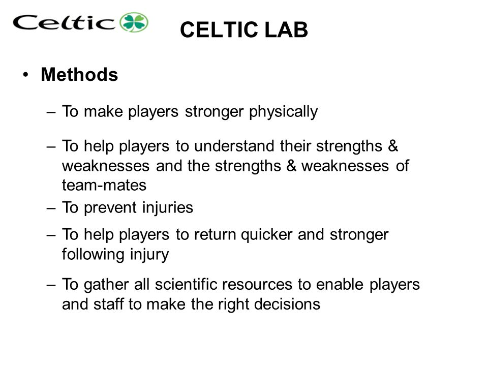 CELTIC LAB Methods To make players stronger physically