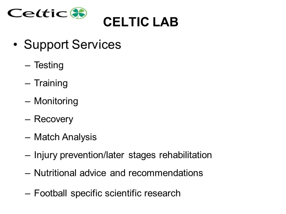 CELTIC LAB Support Services Testing Training Monitoring Recovery