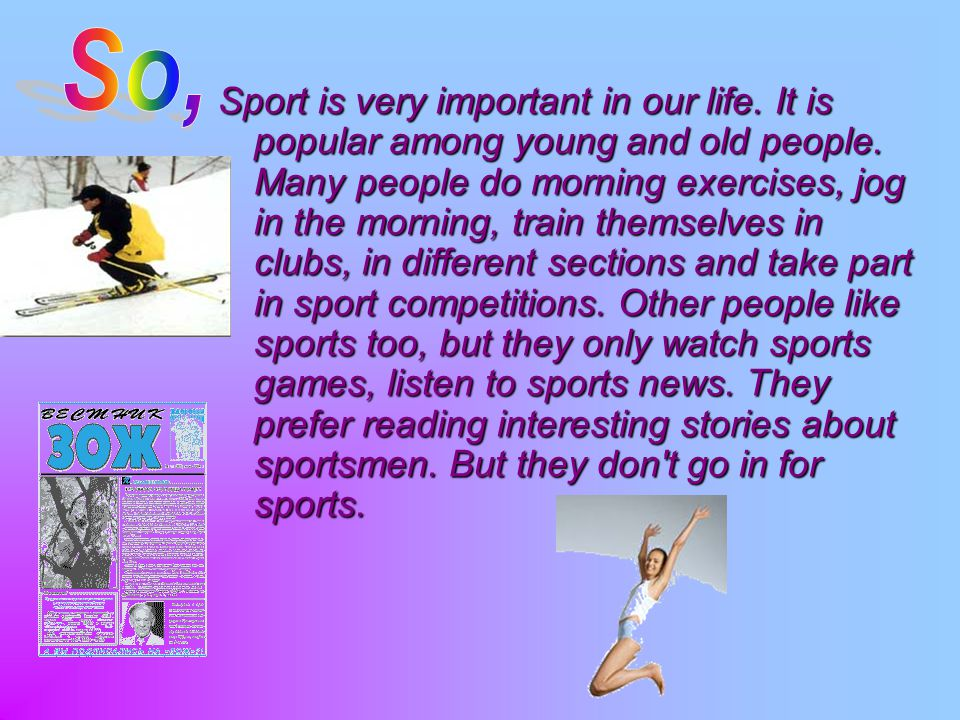 sports and games are equally important Life is full of situations where there are winners and losers: a sports game  just  as competition is important in sports so that athletes develop.