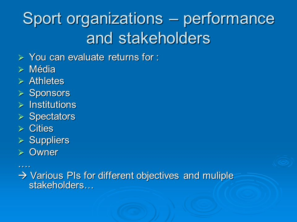 Sport organizations – performance and stakeholders