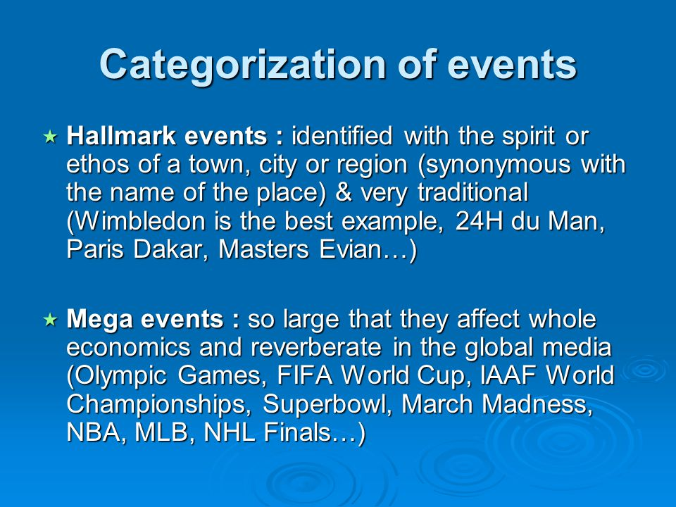 Categorization of events