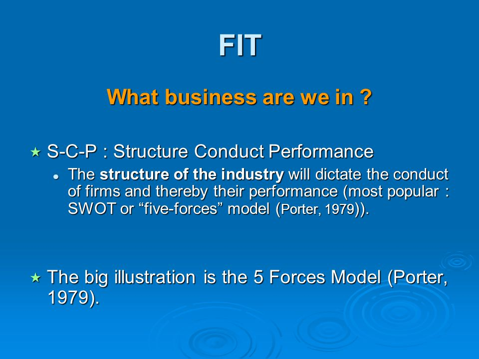 FIT What business are we in S-C-P : Structure Conduct Performance