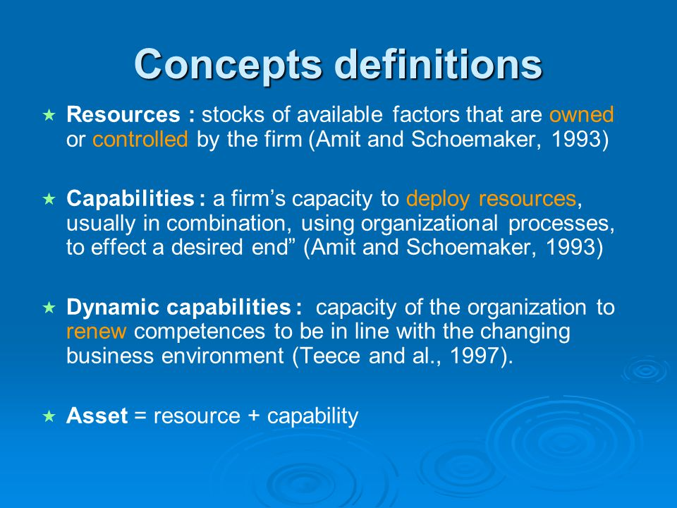 Concepts definitions Resources : stocks of available factors that are owned or controlled by the firm (Amit and Schoemaker, 1993)