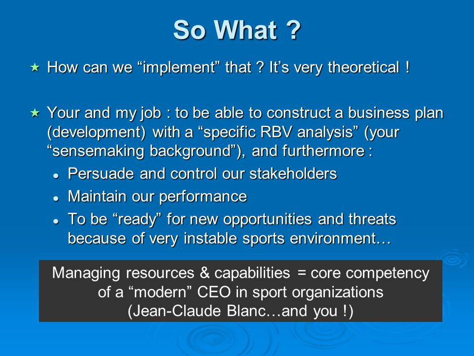 So What How can we implement that It's very theoretical !
