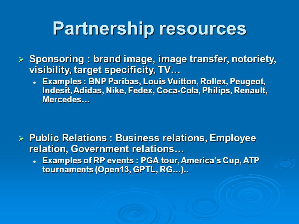 Partnership resources