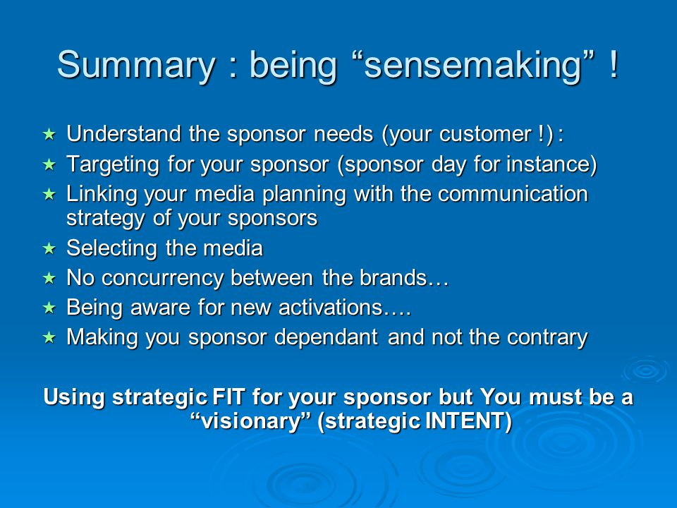 Summary : being sensemaking !