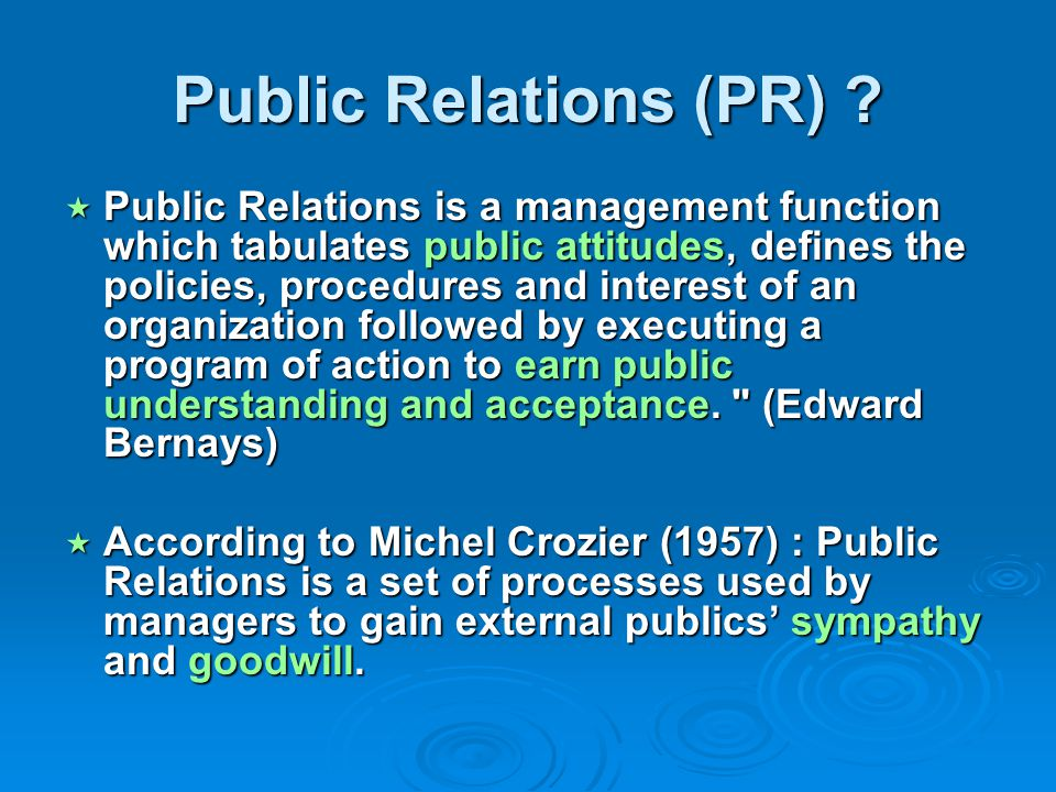 public relations and strategic management Chapter - vi applying strategic management to public relations strategic counsel is key the ceo is looking to public relations professionalsfor s.