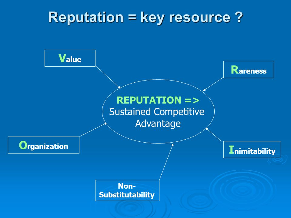 Reputation = key resource Non-Substitutability