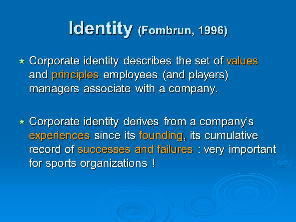 Identity (Fombrun, 1996) Corporate identity describes the set of values and principles employees (and players) managers associate with a company.