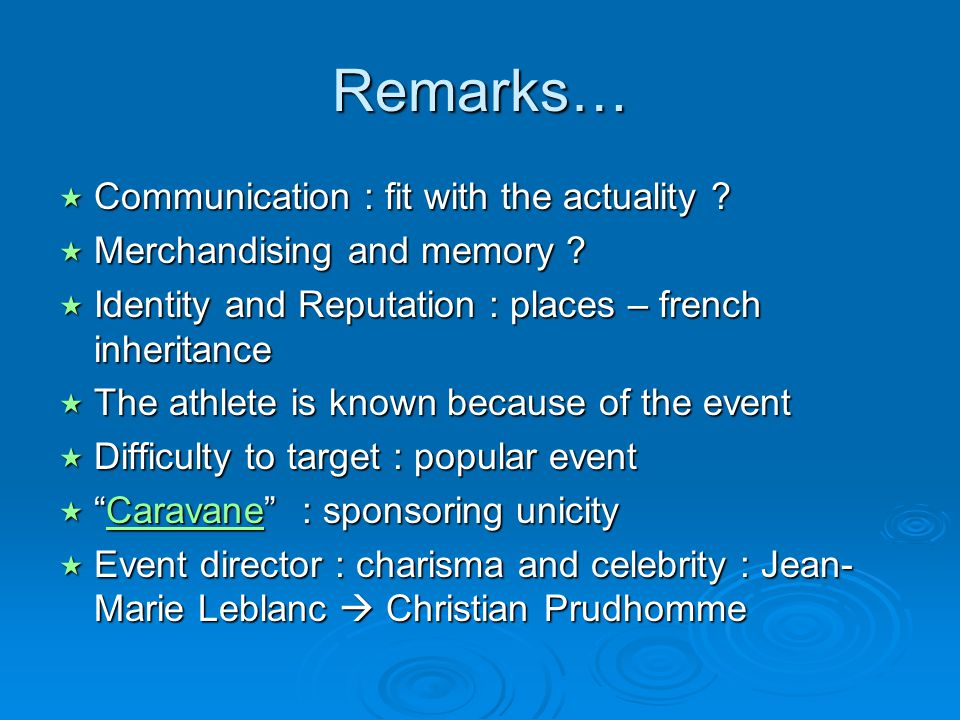 Remarks… Communication : fit with the actuality