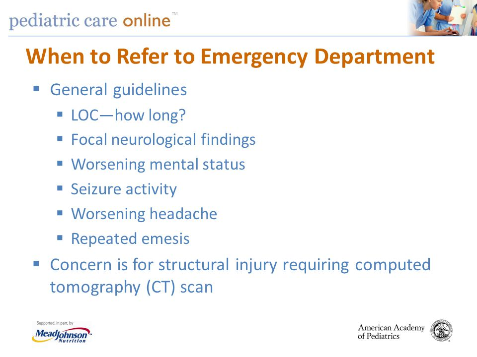 When to Refer to Emergency Department