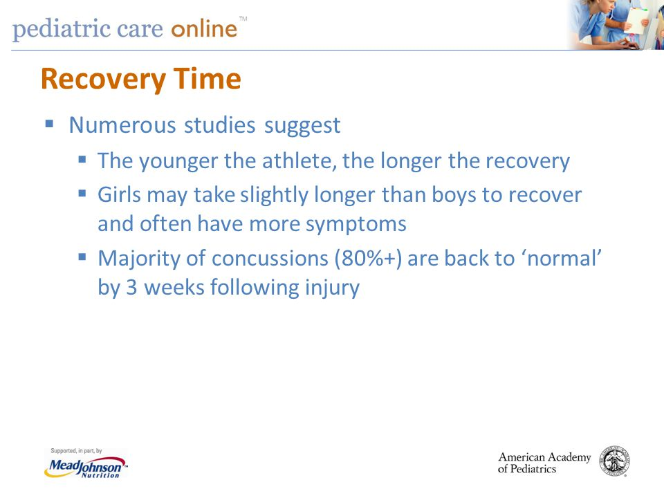 Recovery Time Numerous studies suggest