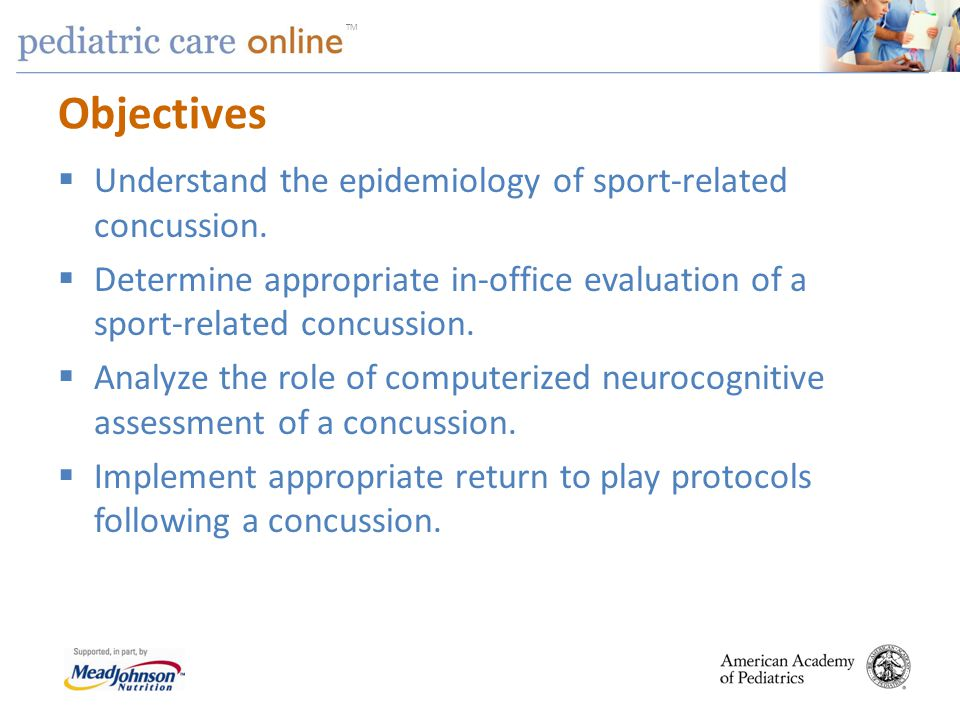 Objectives Understand the epidemiology of sport-related concussion.