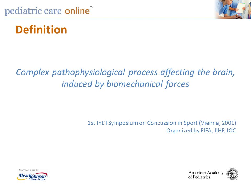 Definition Complex pathophysiological process affecting the brain, induced by biomechanical forces.