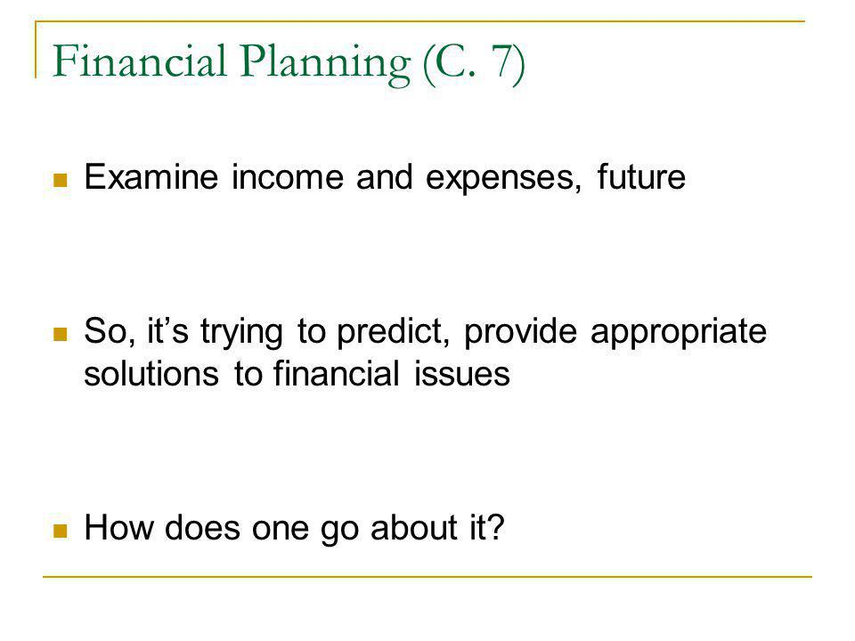 Financial Planning (C. 7)