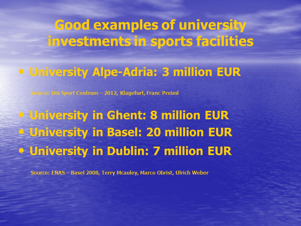 Good examples of university investments in sports facilities