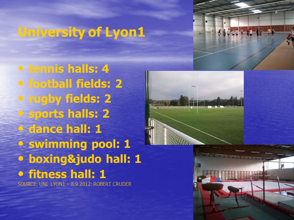 University of Lyon1 tennis halls: 4 football fields: 2 rugby fields: 2
