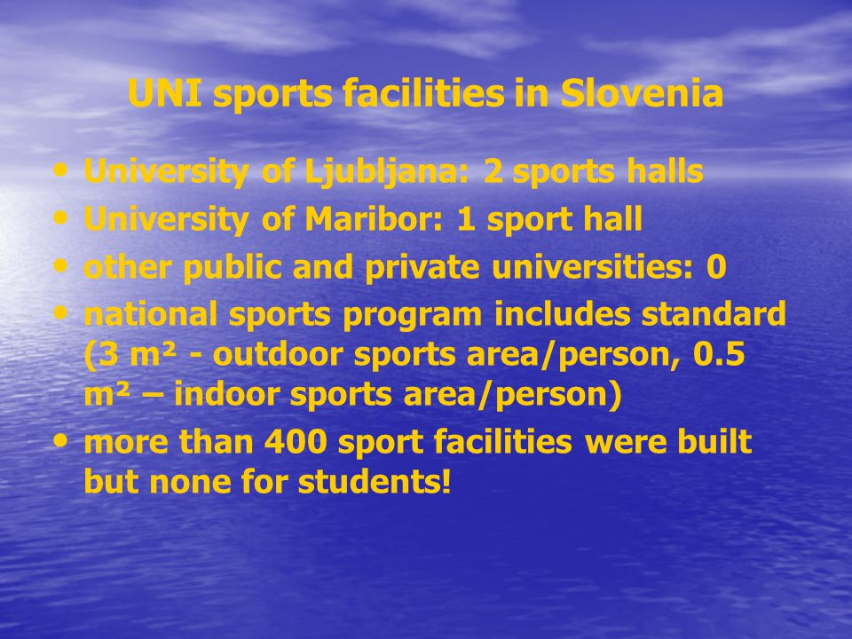 UNI sports facilities in Slovenia