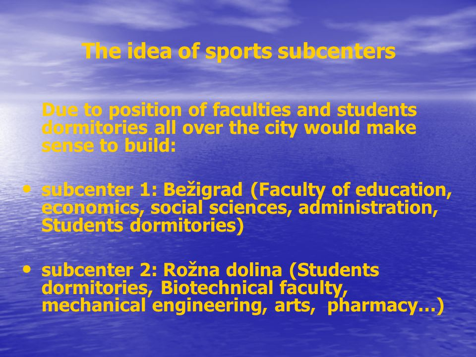 The idea of sports subcenters
