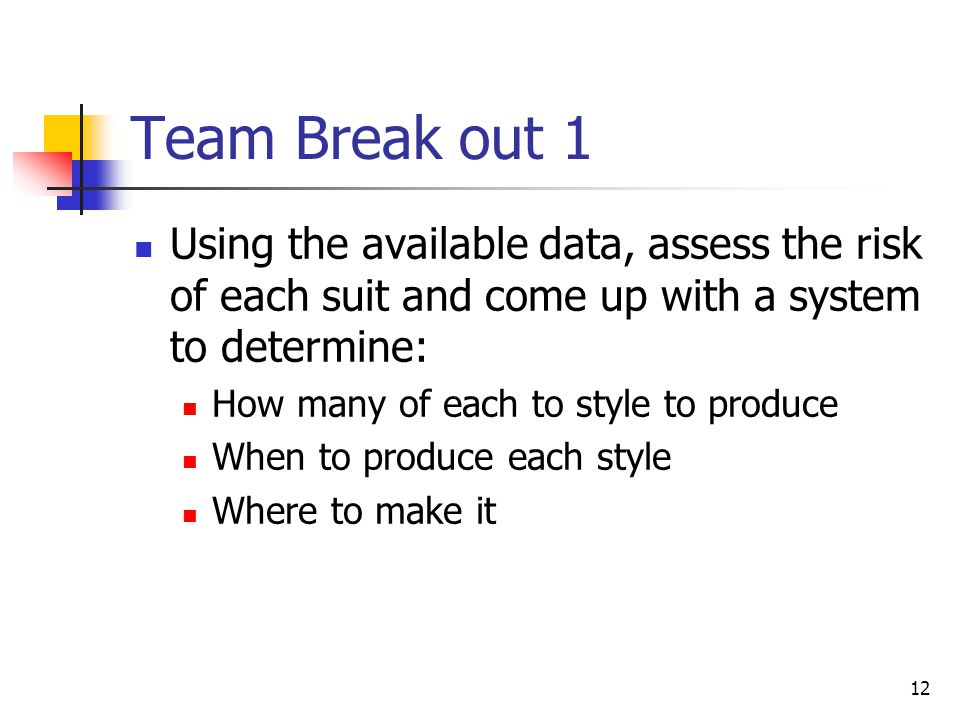 Team Break out 1 Using the available data, assess the risk of each suit and come up with a system to determine: