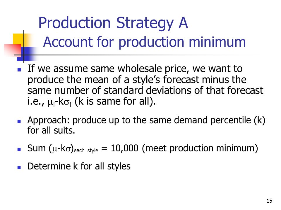 Production Strategy A Account for production minimum