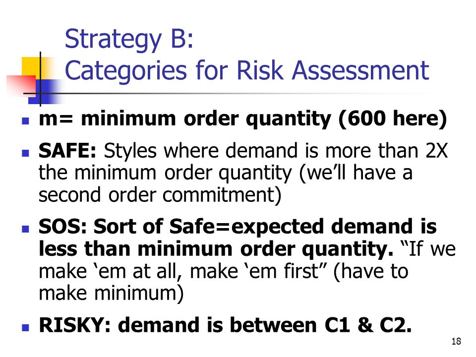 Strategy B: Categories for Risk Assessment