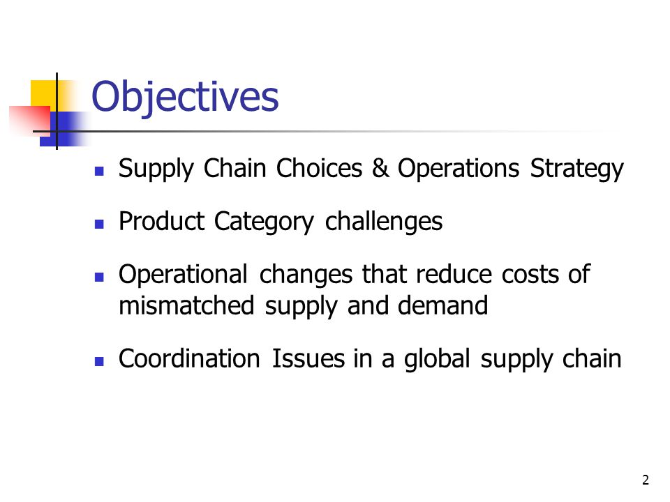 Objectives Supply Chain Choices & Operations Strategy