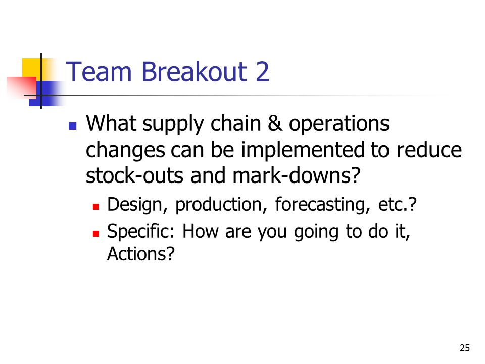 Team Breakout 2 What supply chain & operations changes can be implemented to reduce stock-outs and mark-downs