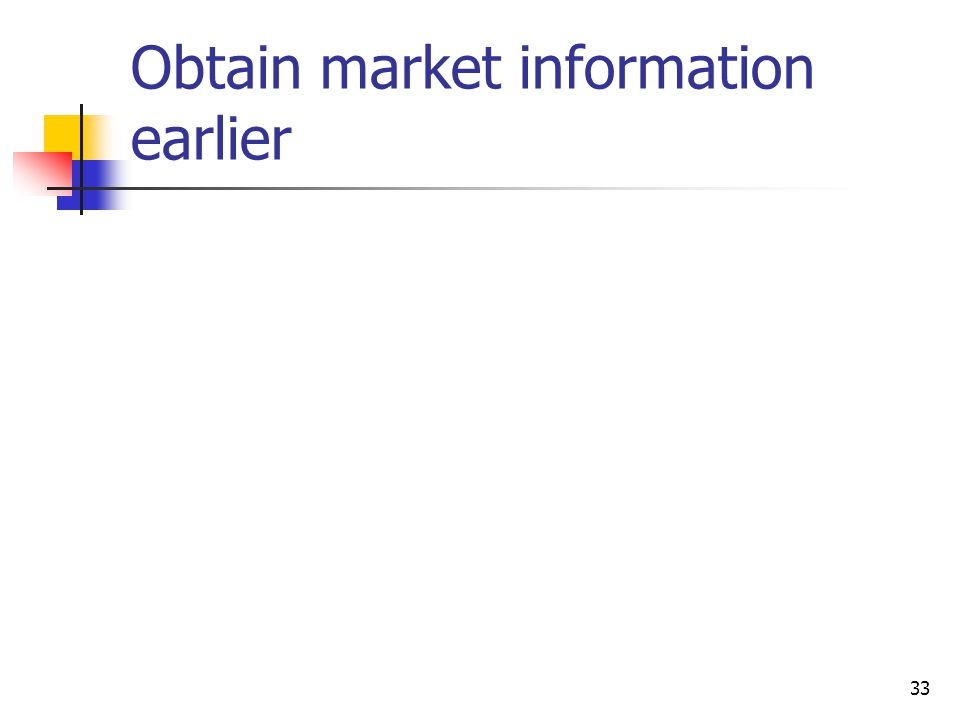 Obtain market information earlier