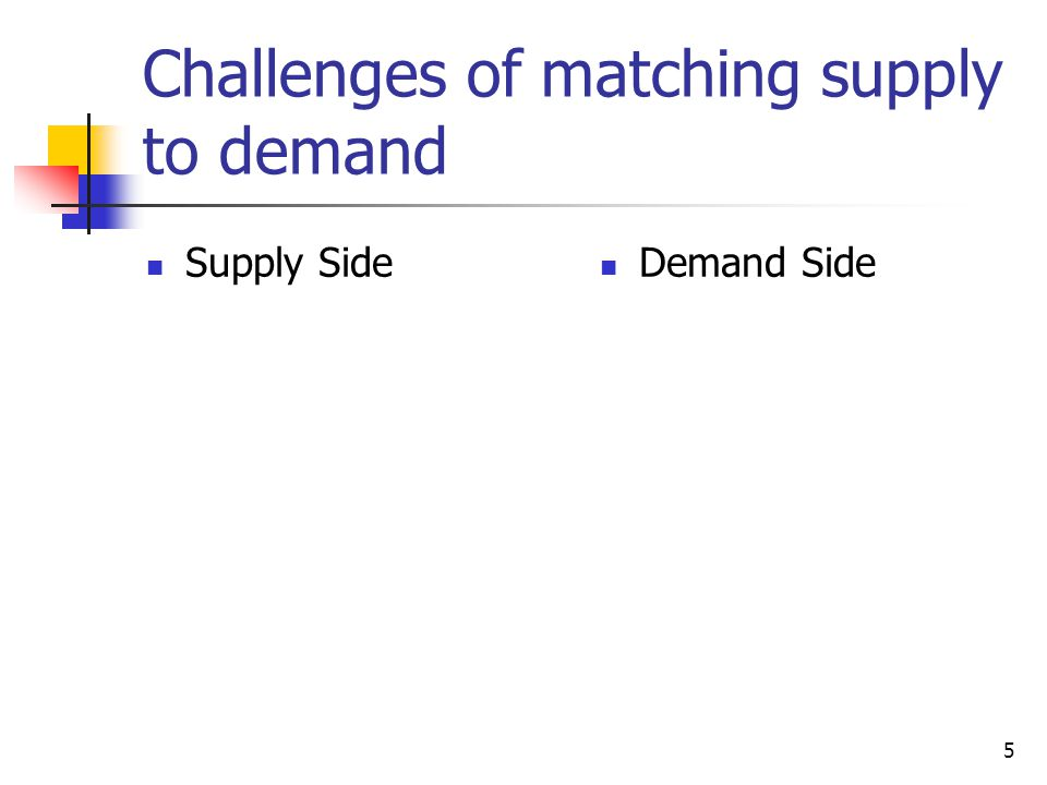 Challenges of matching supply to demand
