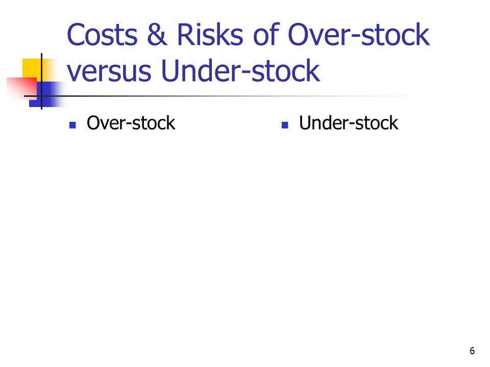 Costs & Risks of Over-stock versus Under-stock